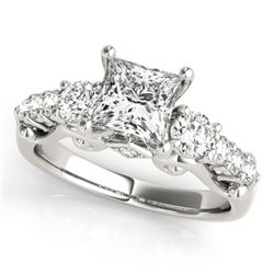 1.5 CTW Certified VS/SI Diamond 3 Stone Princess Cut Ring 18K White Gold - REF-292A5X - 27993