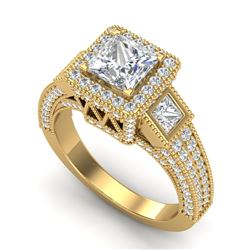 3.53 CTW Princess VS/SI Diamond Micro Pave 3 Stone Ring 18K Yellow Gold - REF-618Y2K - 37177