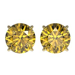 2.57 CTW Certified Intense Yellow SI Diamond Solitaire Stud Earrings 10K Yellow Gold - REF-427X5T -