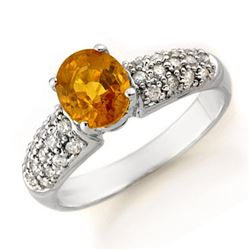 3.03 CTW Yellow Sapphire & Diamond Ring 14K White Gold - REF-74H9A - 14364