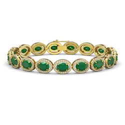 22.89 CTW Emerald & Diamond Halo Bracelet 10K Yellow Gold - REF-291A5X - 40603