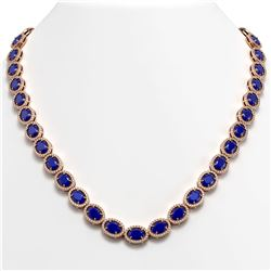 52.15 CTW Sapphire & Diamond Halo Necklace 10K Rose Gold - REF-655M3H - 40560