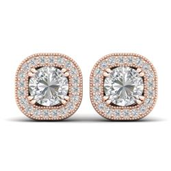 1.35 CTW Certified VS/SI Diamond Stud Micro Halo Earrings 14K Rose Gold - REF-177Y3K - 30433