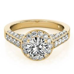 1.5 CTW Certified VS/SI Diamond Solitaire Halo Ring 18K Yellow Gold - REF-242T2M - 26783