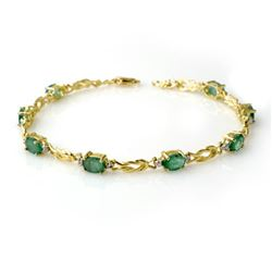 4.11 CTW Emerald & Diamond Bracelet 10K Yellow Gold - REF-50W9F - 14180