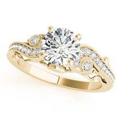 1 CTW Certified VS/SI Diamond Solitaire Antique Ring 18K Yellow Gold - REF-191H3A - 27410