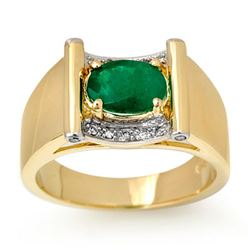 1.83 CTW Emerald & Diamond Men's Ring 10K Yellow Gold - REF-46M2H - 13489