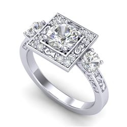1.55 CTW VS/SI Diamond Solitaire Art Deco 3 Stone Ring 18K White Gold - REF-272H8A - 37274