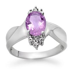 1.14 CTW Amethyst & Diamond Ring 10K White Gold - REF-18F5N - 12535