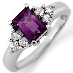 1.36 CTW Amethyst & Diamond Ring 14K White Gold - REF-51H3A - 10434