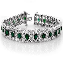 14.50 CTW Emerald & Diamond Bracelet 14K White Gold - REF-411Y8K - 11517