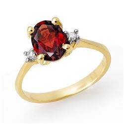 1.54 CTW Garnet & Diamond Ring 10K Yellow Gold - REF-22A2X - 13221