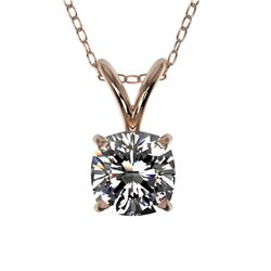 0.50 CTW Certified VS/SI Quality Cushion Cut Diamond Necklace 10K Rose Gold - REF-79W5F - 33170