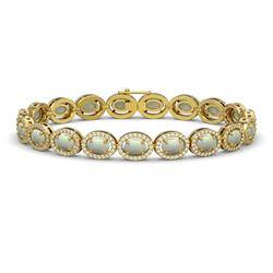 9.5 CTW Opal & Diamond Halo Bracelet 10K Yellow Gold - REF-251Y8K - 40468