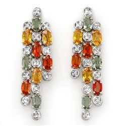 4.33 CTW Multi-Sapphire & Diamond Earrings 14K White Gold - REF-89W3F - 10028