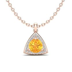 1.50 CTW Citrine & Micro Pave Halo VS/SI Diamond Necklace 14K Rose Gold - REF-33H5A - 20520