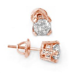 1.0 CTW Certified VS/SI Diamond Solitaire Stud Earrings 14K Rose Gold - REF-125T8M - 10502