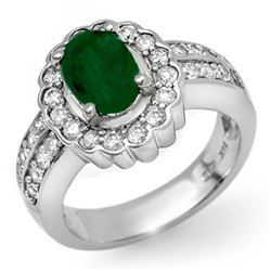 2.25 CTW Emerald & Diamond Ring 18K White Gold - REF-124X9T - 11922