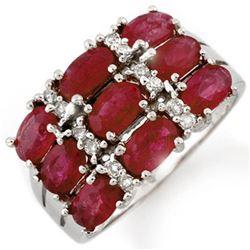 3.15 CTW Ruby & Diamond Ring 10K White Gold - REF-48W2F - 11665