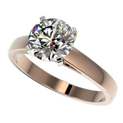 2 CTW Certified H-SI/I Quality Diamond Solitaire Engagement Ring 10K Rose Gold - REF-466W3F - 33030