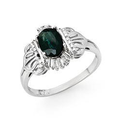 1.04 CTW Blue Sapphire & Diamond Ring 10K White Gold - REF-19A5X - 13837