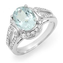 2.50 CTW Aquamarine & Diamond Ring 10K White Gold - REF-70N2Y - 14538