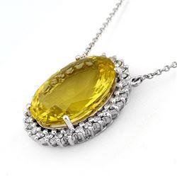32.0 CTW Lemon Topaz & Diamond Necklace 14K White Gold - REF-240T4M - 11050