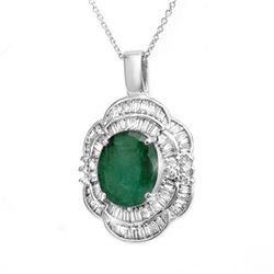 4.60 CTW Emerald & Diamond Pendant 18K White Gold - REF-200A2X - 14245