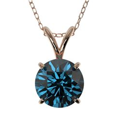 1.29 CTW Certified Intense Blue SI Diamond Solitaire Necklace 10K Rose Gold - REF-240K2W - 36791