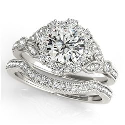 1.44 CTW Certified VS/SI Diamond 2Pc Wedding Set Solitaire Halo 14K White Gold - REF-225K5W - 30963