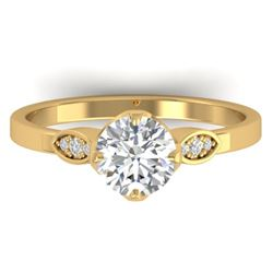 1.05 CTW Certified VS/SI Diamond Solitaire Art Deco Ring 14K Yellow Gold - REF-278A8X - 30563