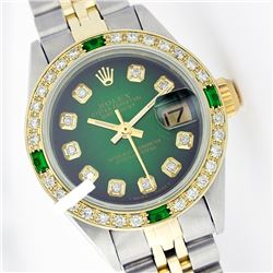 Rolex Ladies Two Tone 14K Gold/SS, Diam Dial & Diam/Emerald Bezel, Sapphire Crystal - REF-440A7N
