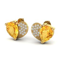 2.50 CTW Citrine & Micro Pave VS/SI Diamond Earrings 10K Yellow Gold - REF-30W2F - 20071