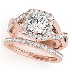 1.75 CTW Certified VS/SI Diamond 2Pc Wedding Set Solitaire Halo 14K Rose Gold - REF-259K6W - 30649