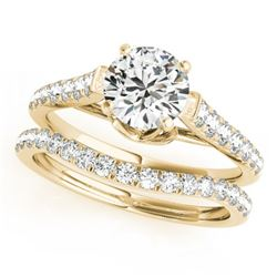 1.58 CTW Certified VS/SI Diamond Solitaire 2Pc Wedding Set 14K Yellow Gold - REF-222N9Y - 31684