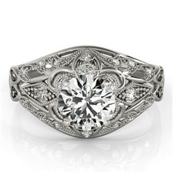 0.87 CTW Certified VS/SI Diamond Solitaire Antique Ring 18K White Gold - REF-145F3N - 27333