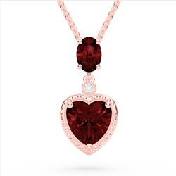 4 CTW Garnet & VS/SI Diamond Designer Heart Necklace 10K Rose Gold - REF-26Y2K - 22524