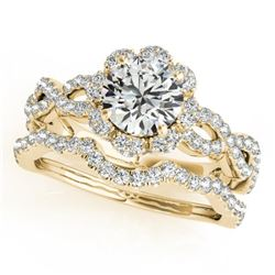 1.93 CTW Certified VS/SI Diamond 2Pc Wedding Set Solitaire Halo 14K Yellow Gold - REF-420M4H - 31186