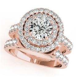 2.67 CTW Certified VS/SI Diamond 2Pc Wedding Set Solitaire Halo 14K Rose Gold - REF-458W4F - 31221
