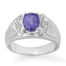 2.65 CTW Tanzanite & Diamond Men's Ring 10K White Gold - REF-70A4X - 13415