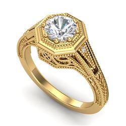 0.84 CTW VS/SI Diamond Solitaire Art Deco Ring 18K Yellow Gold - REF-236F4N - 37093