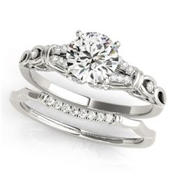 1.25 CTW Certified VS/SI Diamond Solitaire 2Pc Wedding Set 14K White Gold - REF-362T2M - 31898