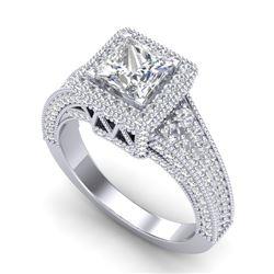 3.5 CTW Princess VS/SI Diamond Solitaire Micro Pave Ring 18K White Gold - REF-581X8T - 37166