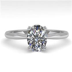 1.02 CTW Oval Cut VS/SI Diamond Engagement Designer Ring 18K White Gold - REF-288T2M - 32412
