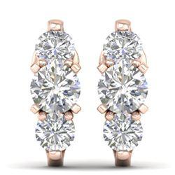 2 CTW Certified VS/SI Diamond 3 Stone Stud Earrings 14K Rose Gold - REF-230F4N - 30478