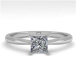 0.52 CTW Princess Cut VS/SI Diamond Engagement Designer Ring 18K White Gold - REF-98H4A - 32391