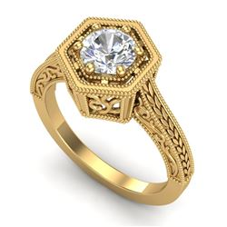 0.77 CTW VS/SI Diamond Art Deco Ring 18K Yellow Gold - REF-218A2X - 36898