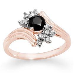 0.75 CTW VS Certified Black & White Diamond Ring 14K Rose Gold - REF-45W5F - 14024