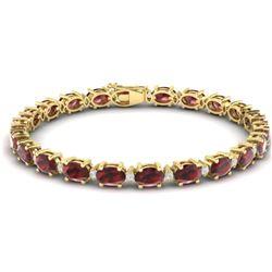 19.7 CTW Garnet & VS/SI Certified Diamond Eternity Bracelet 10K Yellow Gold - REF-98F2N - 29370