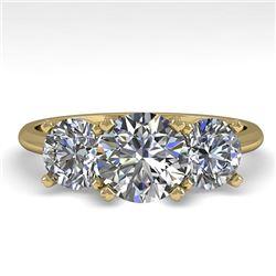 2 CTW VS/SI Diamond Past Present Future Designer Ring 14K Yellow Gold - REF-473K6W - 38492